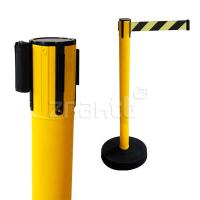 990253 Стойка ограждения пластиковая желтая утяжеленное основание желто-черная лента