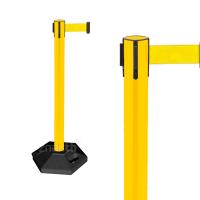 990355 Стойка ограждения пластиковая желтая с желтой лентой