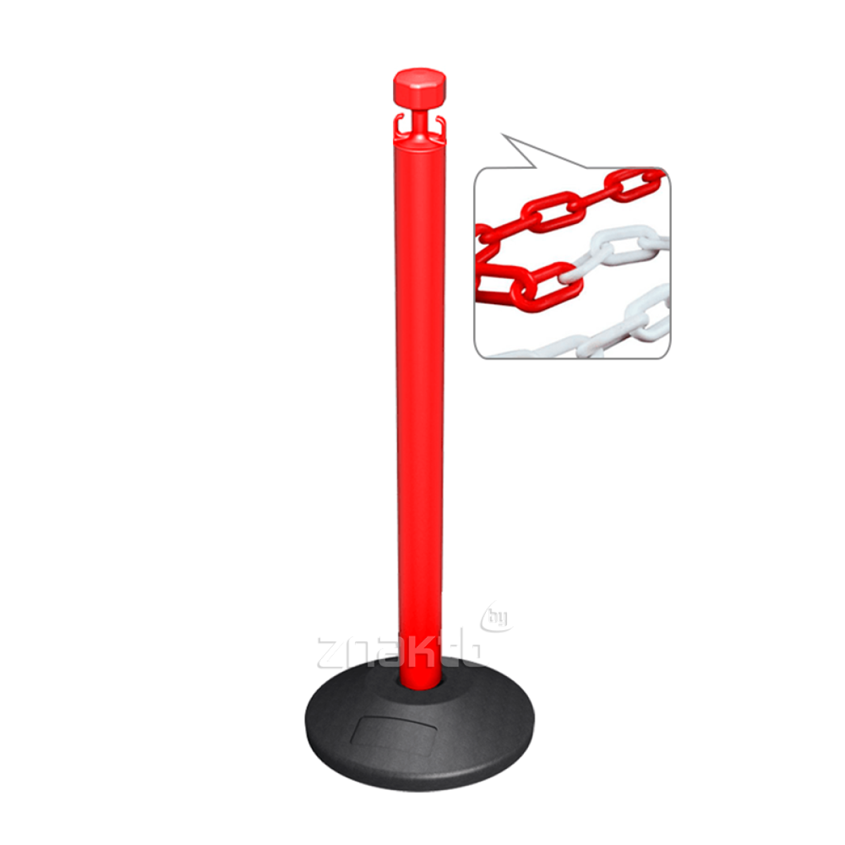991112 Стойка ограждения с цепью пластиковая красная основание стандарт красно-белая цепь