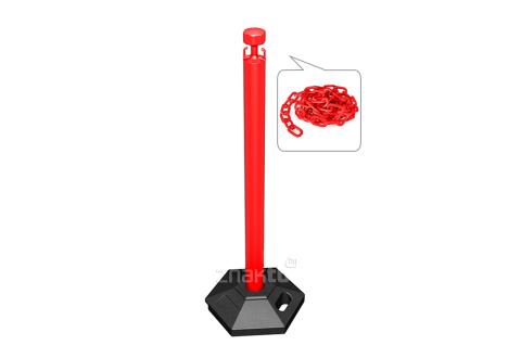 991311  Стойка ограждения с цепью пластиковая красная основание на колесиках красная цепь