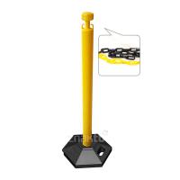 991353 Стойка ограждения с цепью пластиковая желтая основание на колесиках желто-черная цепь