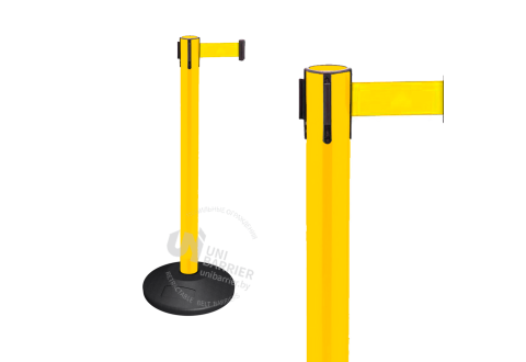 990155 Стойка ограждения пластиковая желтая резиновое основание стандарт желтая лента