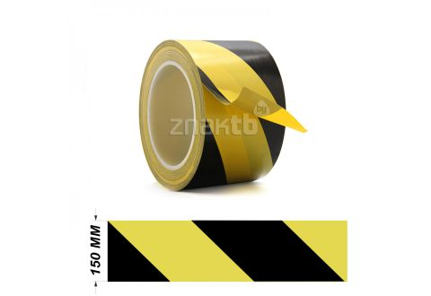 Лента ПВХ для разметки US200, желто/черный 150мм*33м