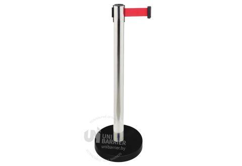 989201 Стойка ограждения металлическая серебристая утяжеленное основание красная лента