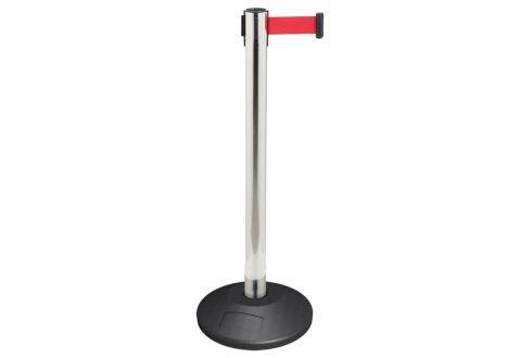 989101 Стойка ограждения металлическая серебристая основание стандарт красная лента