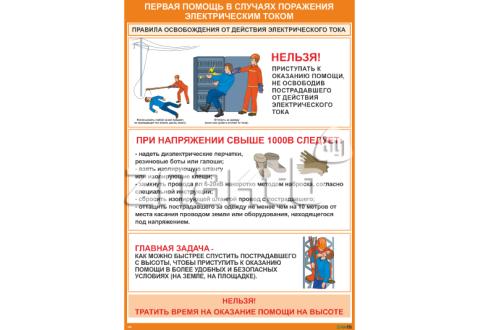 2309 Плакат по охране труда Первая помощь в случаях поражения электрическим током