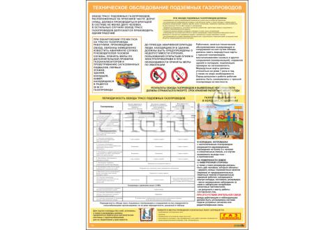 2738 Плакат по охране труда Техническое обследование подземных газопроводов