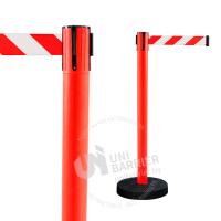 990212 Стойка ограждения пластиковая красная утяжеленное основание красно-белая лента