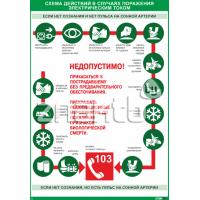2217 Плакат информационный Схема действий в случаях поражения электрическим током