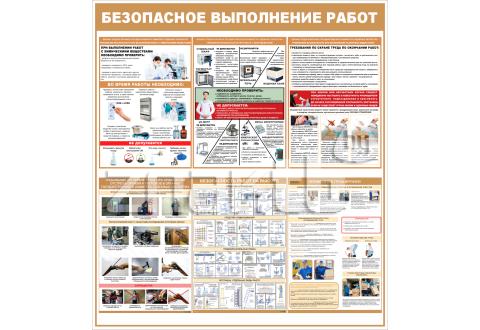 """3410 Стенд информационный """"Безопасное выполнение работ"""" 1000*900 мм"""