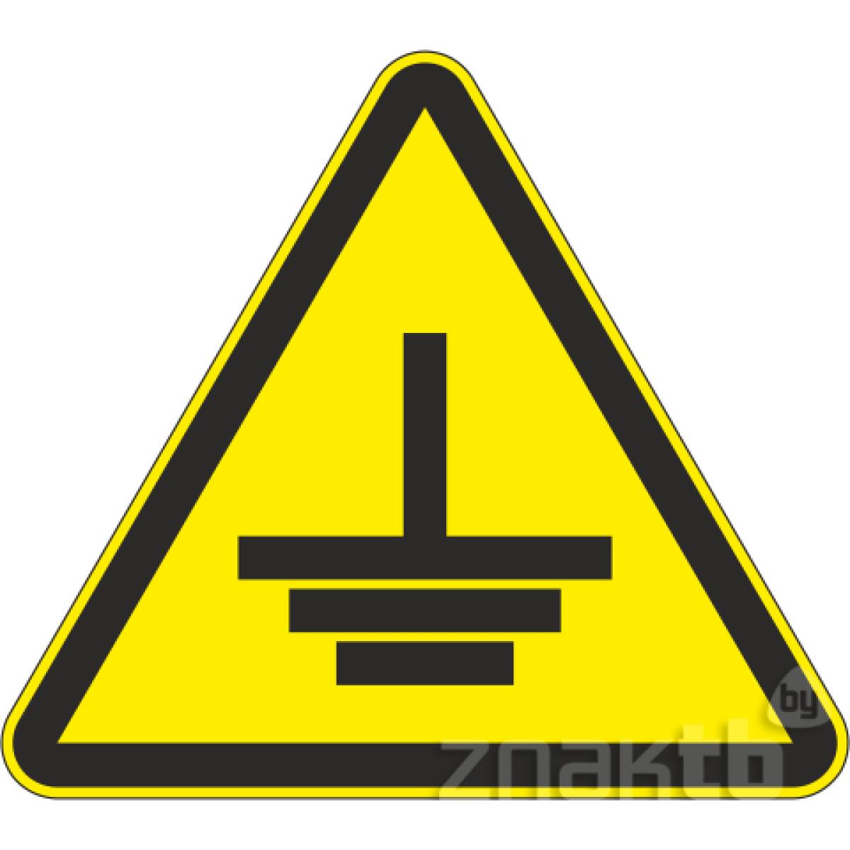 102 Знак Заземление (треугольный)