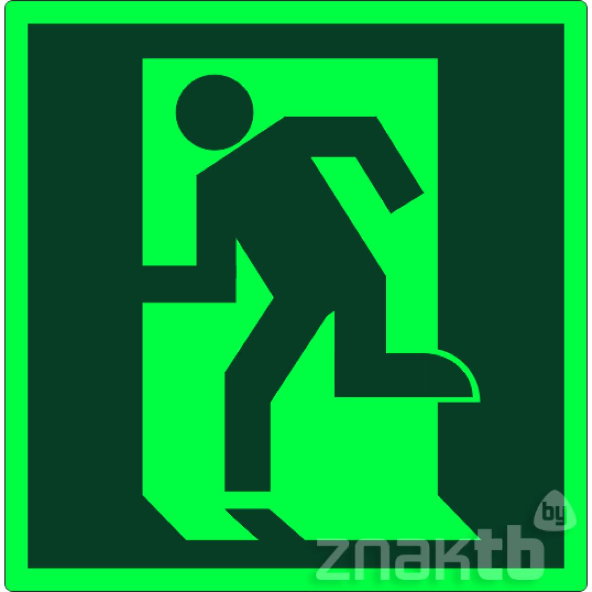 021 Знак Дверь эвакуационного выхода (открывающаяся с левой стороны) фотолюм. код Е01-01