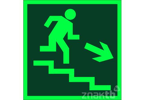 022 Знак Направление к эвакуационному выходу (по лестнице направо вниз) фотолюм. код Е-13