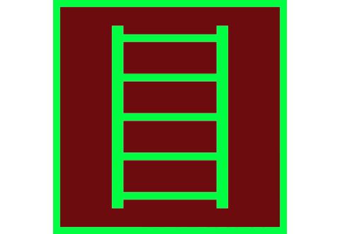 006 Знак Пожарная лестница фотолюминесцентный код F03