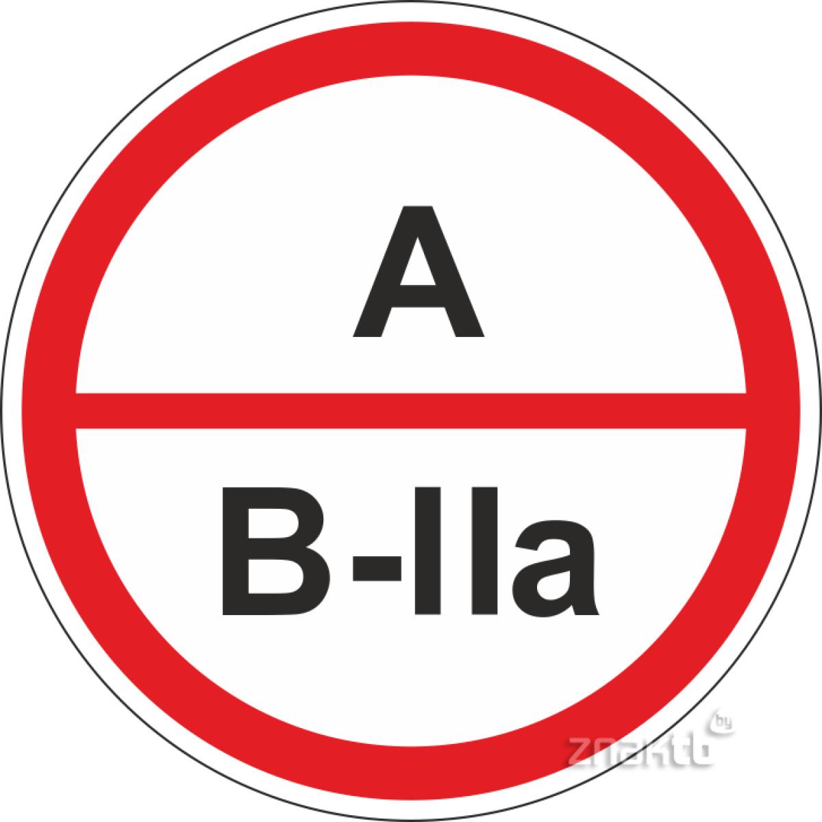 Знак А/В2а – повышенная взрывопожароопасность.