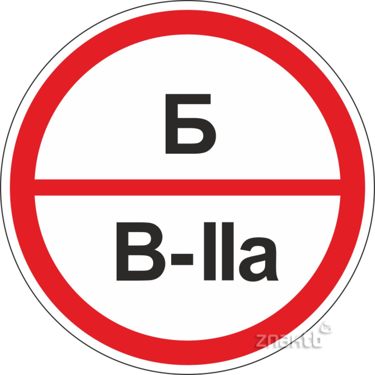 Знак категорийности помещений Б/В2а