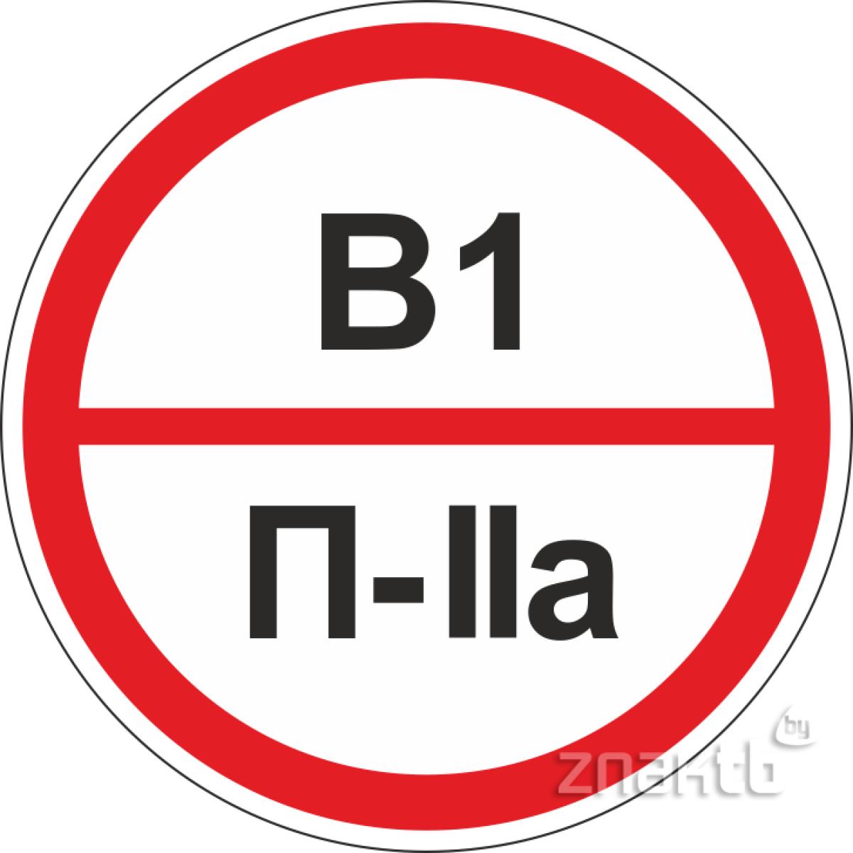 Знаки категорийности помещений В1/П2а