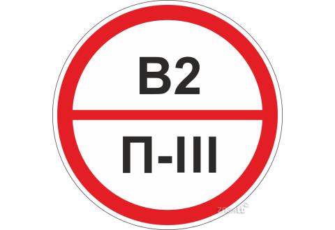 Знаки категорийности помещений В2/П3