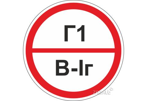 Знаки категорийности помещений Г1/В1г