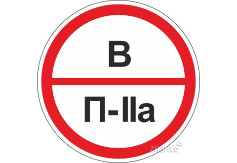 Знаки категорийности помещений В/П2а