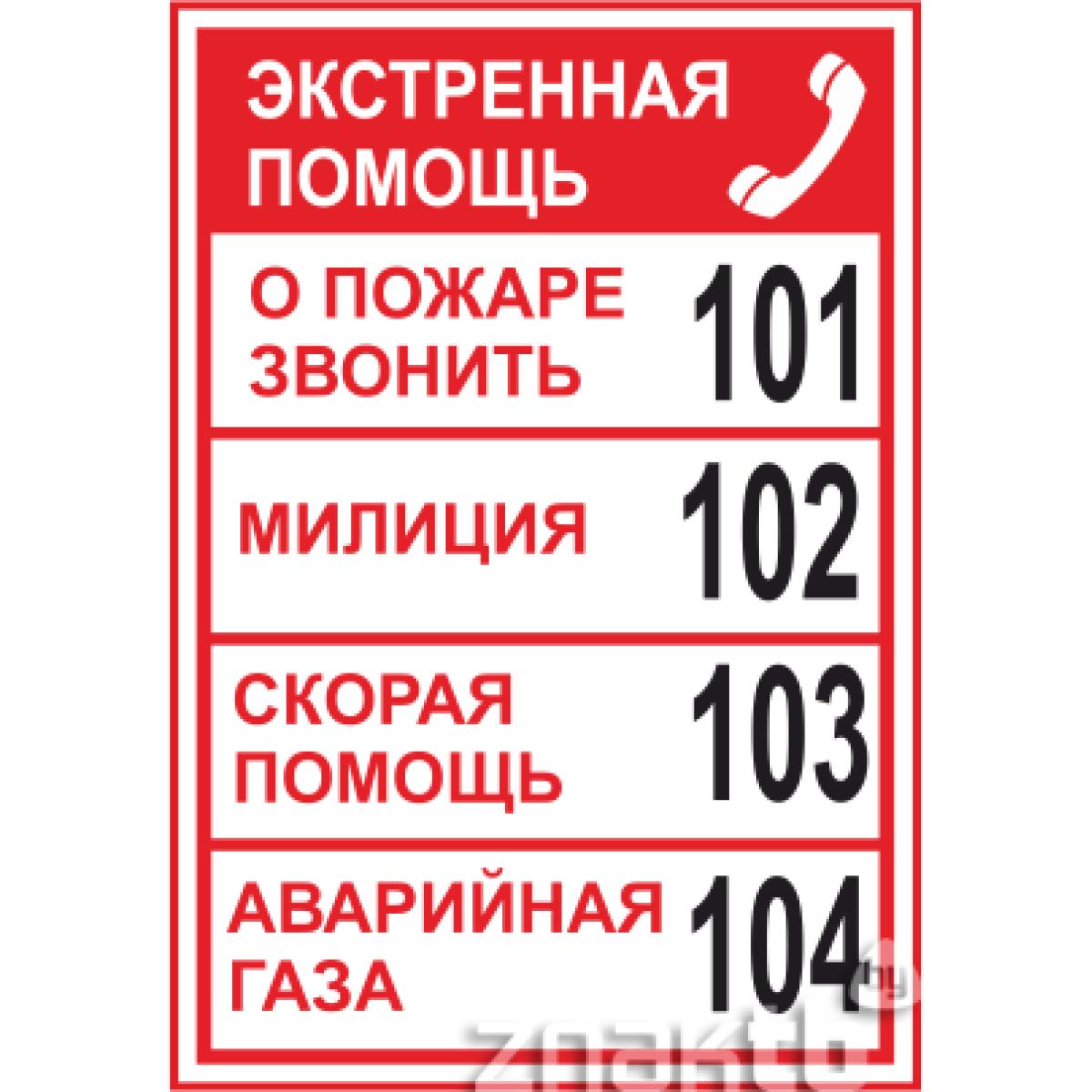 Знак Номера телефонов экстренной помощи