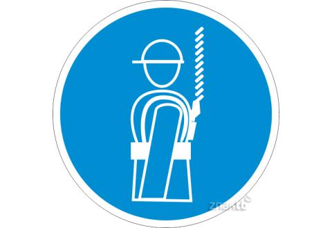 087 Знак Работать в предохранительном (страховочном) поясе код М09