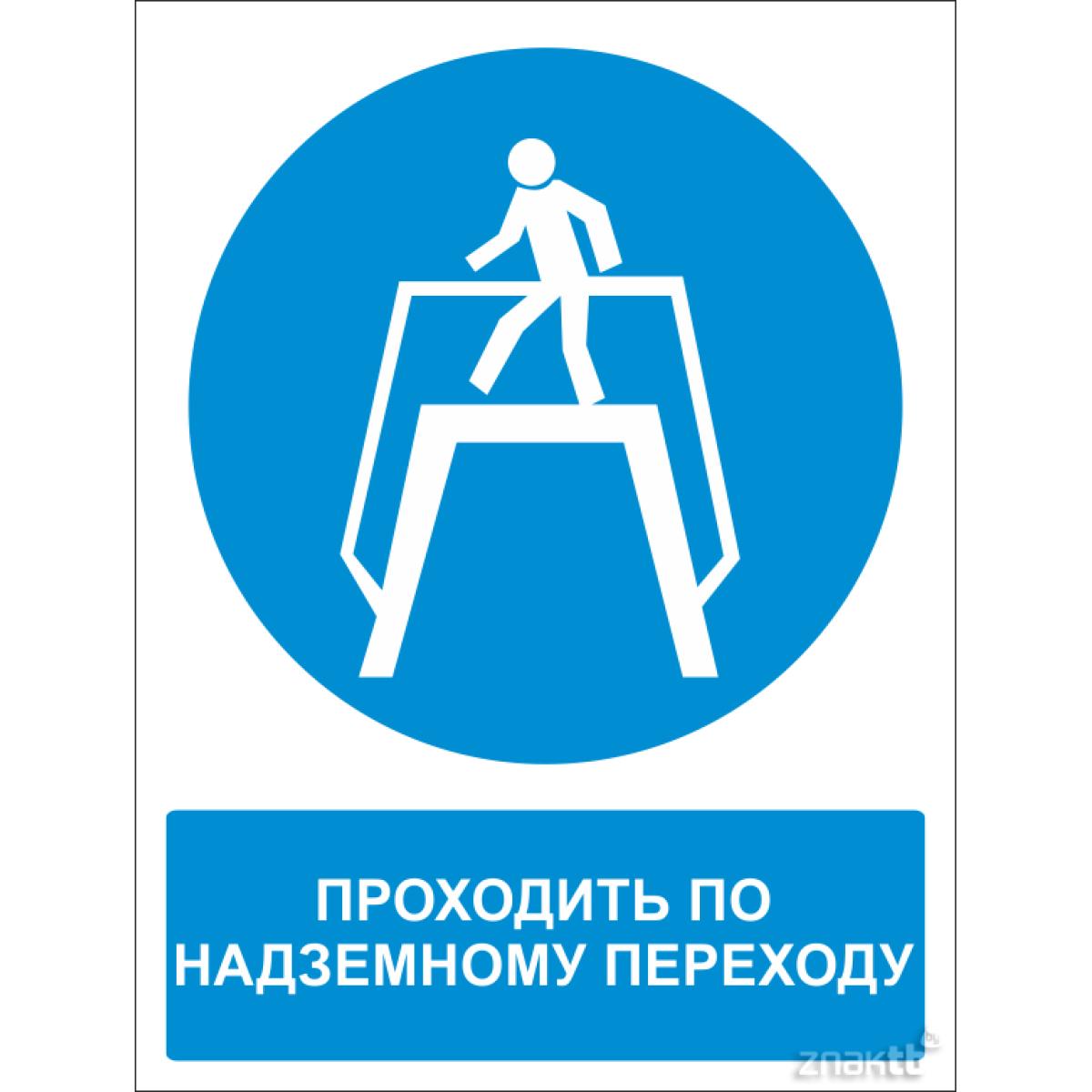 490 Знак Переход по надземному переходу (с поясняющей надписью)