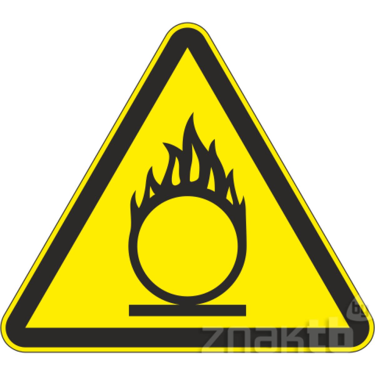 105 Знак Пожароопасно! Окислитель код W11