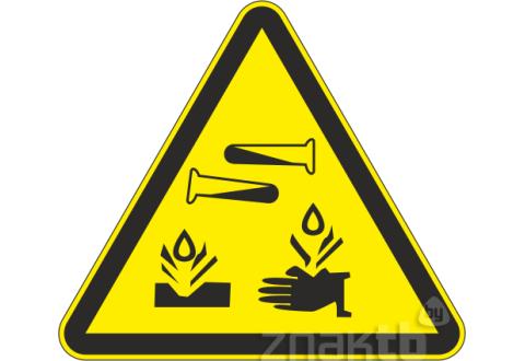 Знак Опасно! Едкие коррозийные вещества код W04