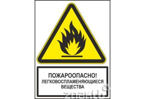 Знак Пожароопасно! Легковоспламеняющиеся вещества (с поясняющей надписью)