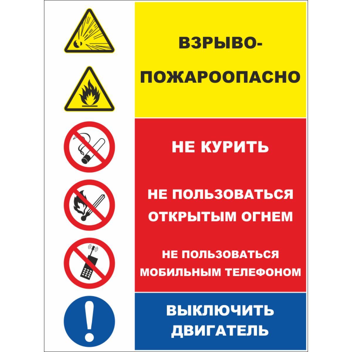 299 Плакат со знаками со знаками Взрыво-пожароопасно. Не курить. Не пользоваться открытым огнем. Не пользоваться мобильным телефоном.Выключить двигатель