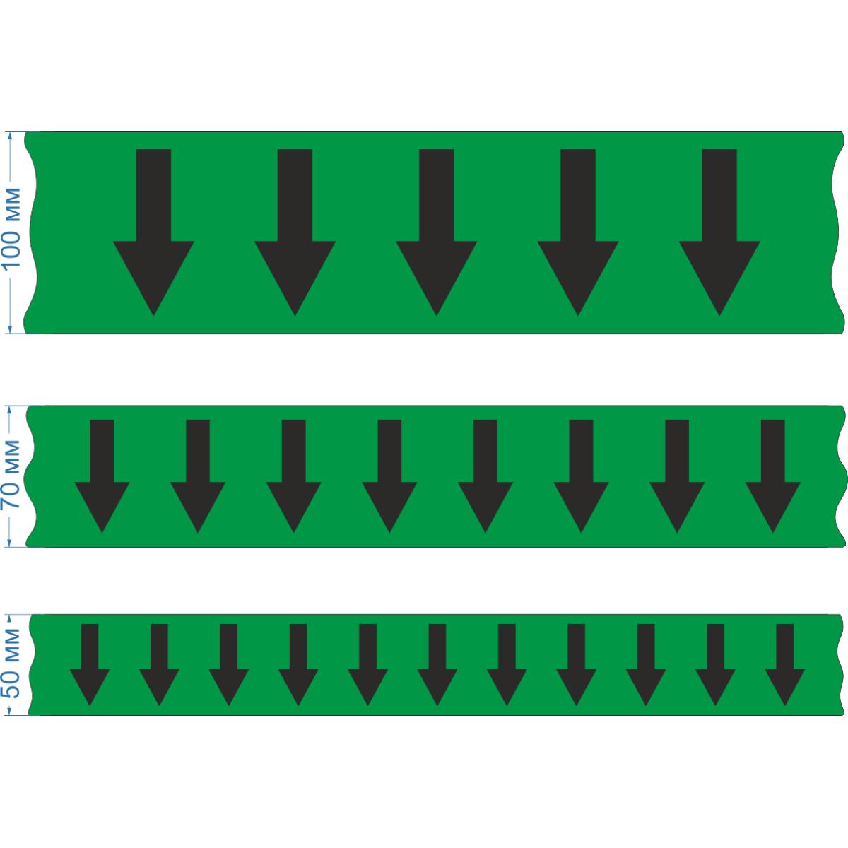 Маркировочная лента для трубопровода со стрелками, зеленая