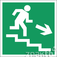 022 Знак Направление к эвакуационному выходу (по лестнице направо вниз) код Е13