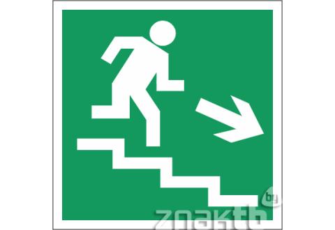 022 Знак Направление к эвакуационному выходу (по лестнице направо вниз) код Е-13