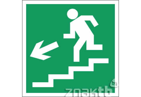 023 Знак Направление к эвакуационному выходу (по лестнице налево вниз)  код Е14