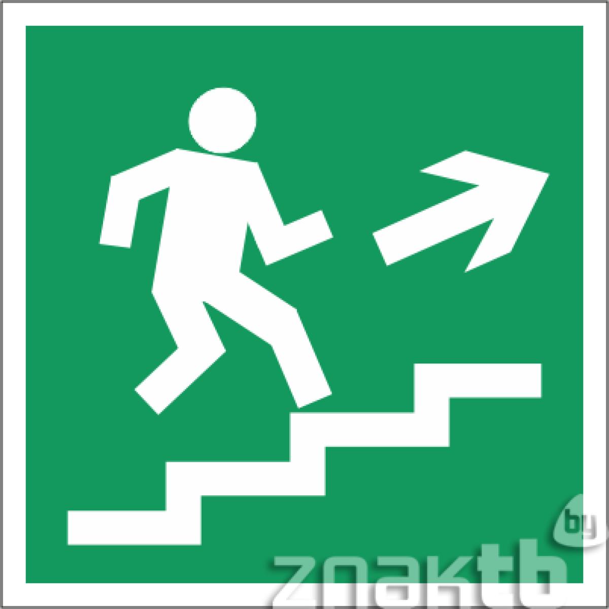 Знак Направление к эвакуационному выходу (по лестнице направо вверх)