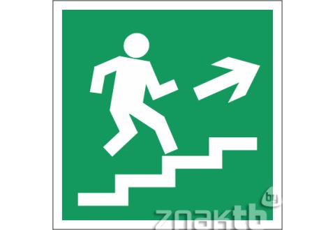 024 Знак Направление к эвакуационному выходу (по лестнице направо вверх)  код Е15